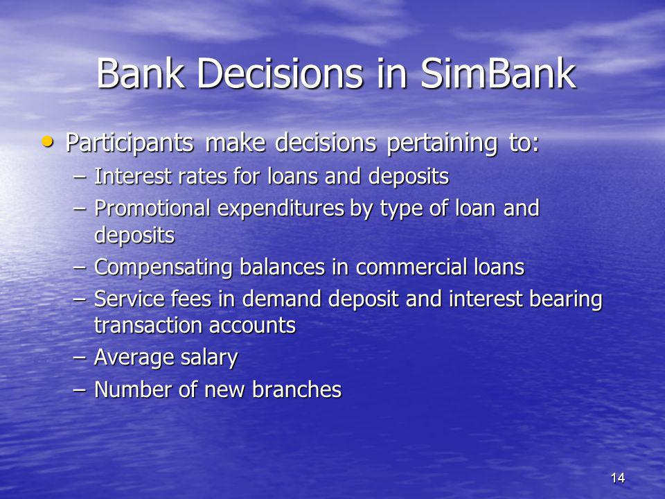 14 Bank Decisions in SimBank Participants make decisions pertaining to: Participants make decisions pertaining to: –Interest rates for loans and deposits –Promotional expenditures by type of loan and deposits –Compensating balances in commercial loans –Service fees in demand deposit and interest bearing transaction accounts –Average salary –Number of new branches