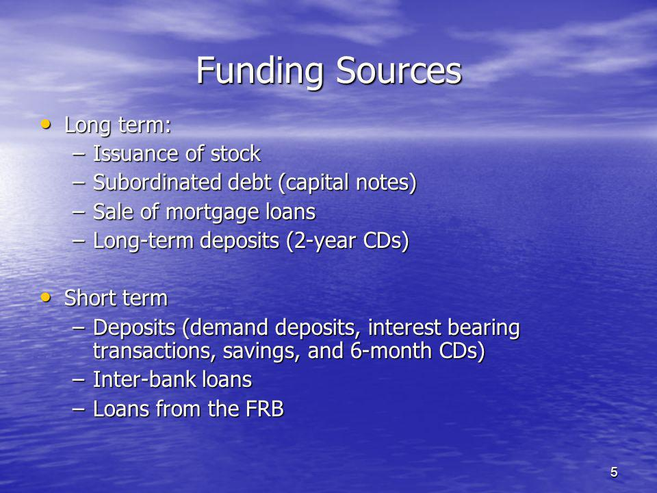 5 Funding Sources Long term: Long term: –Issuance of stock –Subordinated debt (capital notes) –Sale of mortgage loans –Long-term deposits (2-year CDs) Short term Short term –Deposits (demand deposits, interest bearing transactions, savings, and 6-month CDs) –Inter-bank loans –Loans from the FRB