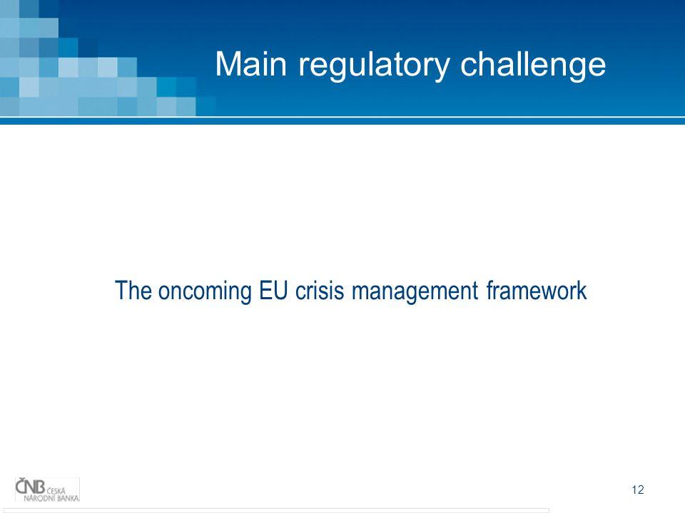 12 Main regulatory challenge The oncoming EU crisis management framework