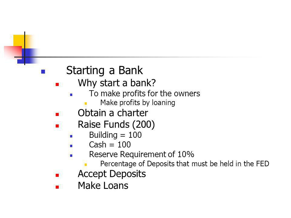 Revenues Interest income Noninterest income Trading income – derivates (options and futures) Customer fees Costs Interest Expense Loan Losses Resource Expense Profits Revenues - Costs Basic Operation T – accounts Someone opens a checking account Bank makes a loan Bank borrows from the FED What if reserves fall below required amount