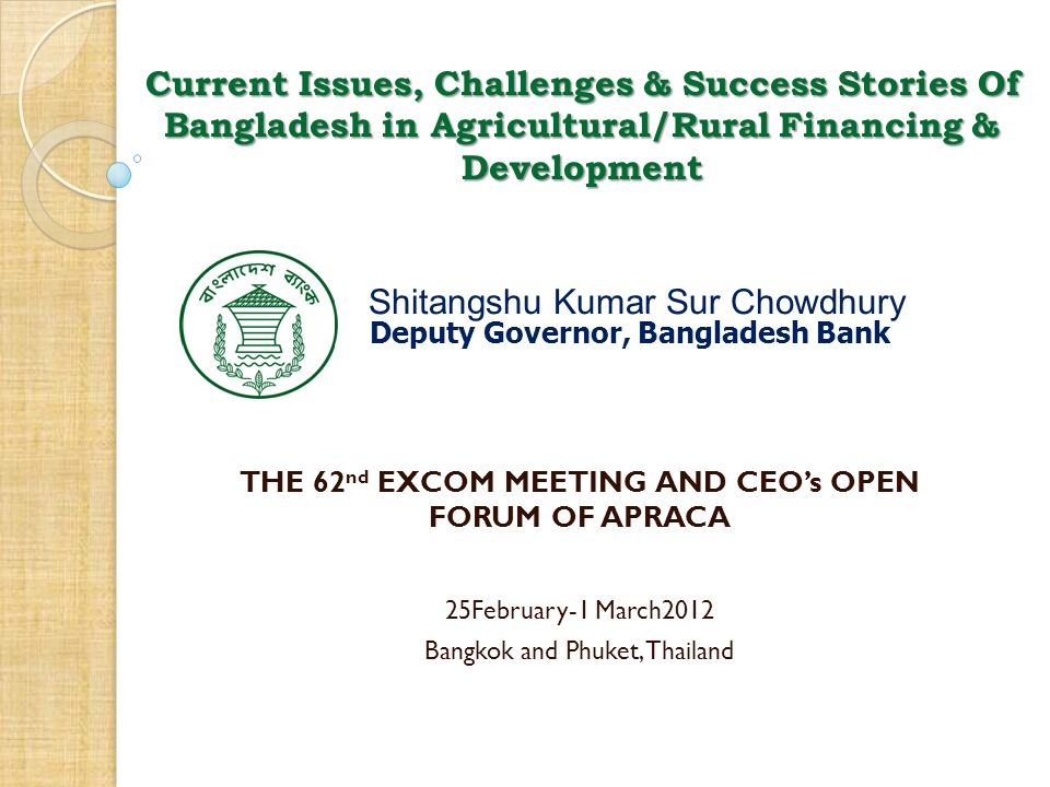 Current Issues, Challenges & Success Stories Of Bangladesh in Agricultural/Rural Financing & Development Shitangshu Kumar Sur Chowdhury Deputy Governo