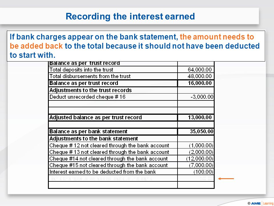 Recording the interest earned If bank charges appear on the bank statement, the amount needs to be added back to the total because it should not have been deducted to start with.