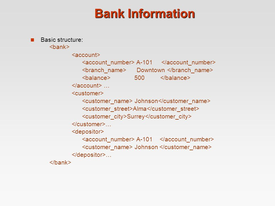 Bank Information Basic structure: A-101 Downtown 500 … Johnson Alma Surrey … A-101 Johnson …