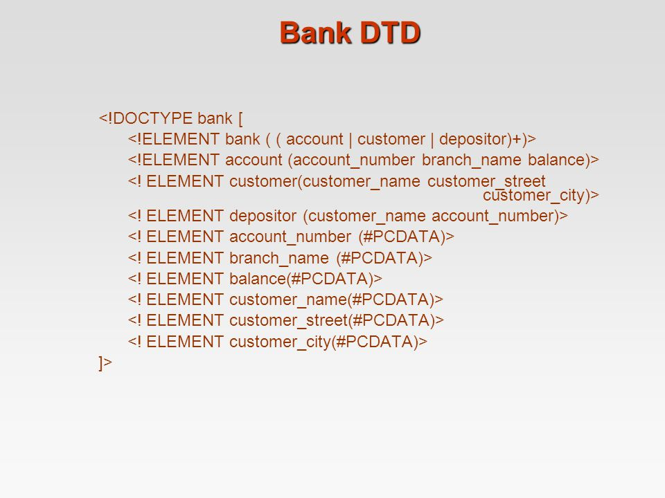 Bank DTD <!DOCTYPE bank [ ]>