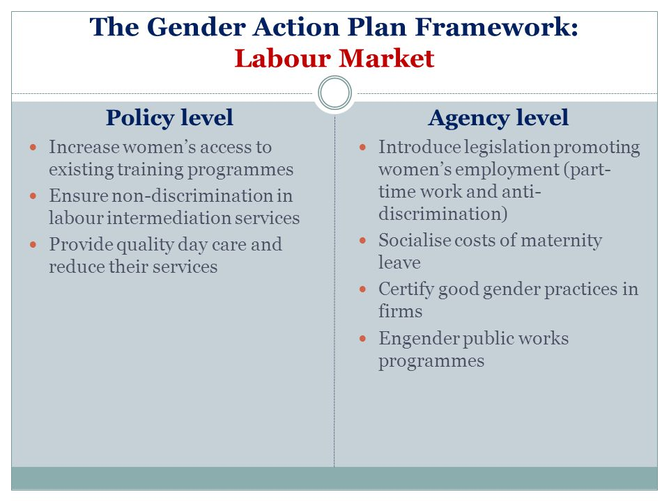 The Gender Action Plan Framework: Labour Market Policy level Increase womens access to existing training programmes Ensure non-discrimination in labou