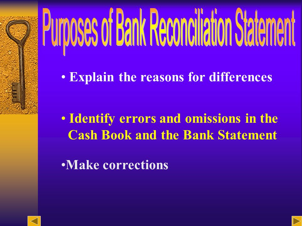 12 Explain the reasons for differences Identify errors and omissions in the Cash Book and the Bank Statement Make corrections