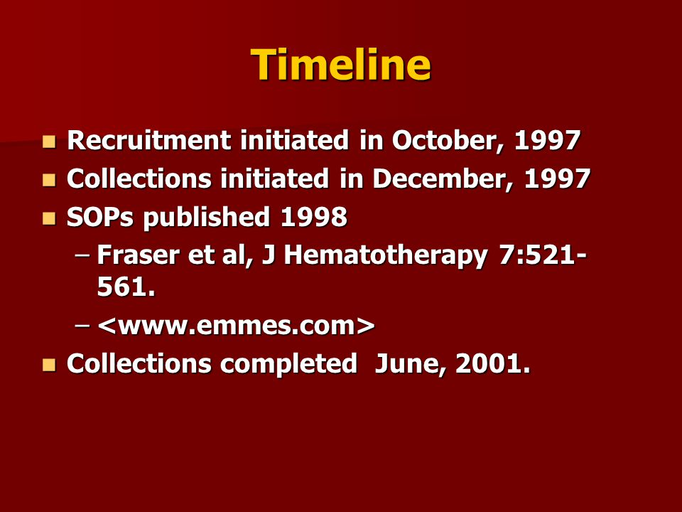 Timeline Recruitment initiated in October, 1997 Recruitment initiated in October, 1997 Collections initiated in December, 1997 Collections initiated i