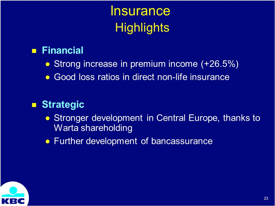 23 Insurance Highlights Financial Strong increase in premium income (+26.5%) Good loss ratios in direct non-life insurance Strategic Stronger development in Central Europe, thanks to Warta shareholding Further development of bancassurance