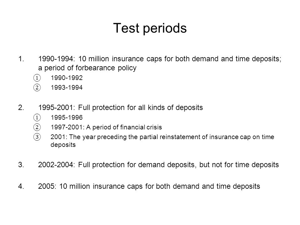Test periods 1.1990-1994: 10 million insurance caps for both demand and time deposits; a period of forbearance policy 1990-1992 1993-1994 2.1995-2001: Full protection for all kinds of deposits 1995-1996 1997-2001: A period of financial crisis 2001: The year preceding the partial reinstatement of insurance cap on time deposits 3.2002-2004: Full protection for demand deposits, but not for time deposits 4.2005: 10 million insurance caps for both demand and time deposits