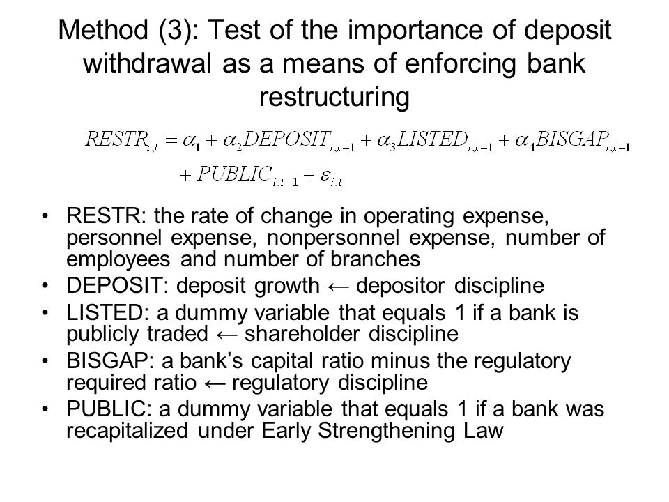 Method (3): Test of the importance of deposit withdrawal as a means of enforcing bank restructuring RESTR: the rate of change in operating expense, personnel expense, nonpersonnel expense, number of employees and number of branches DEPOSIT: deposit growth depositor discipline LISTED: a dummy variable that equals 1 if a bank is publicly traded shareholder discipline BISGAP: a banks capital ratio minus the regulatory required ratio regulatory discipline PUBLIC: a dummy variable that equals 1 if a bank was recapitalized under Early Strengthening Law