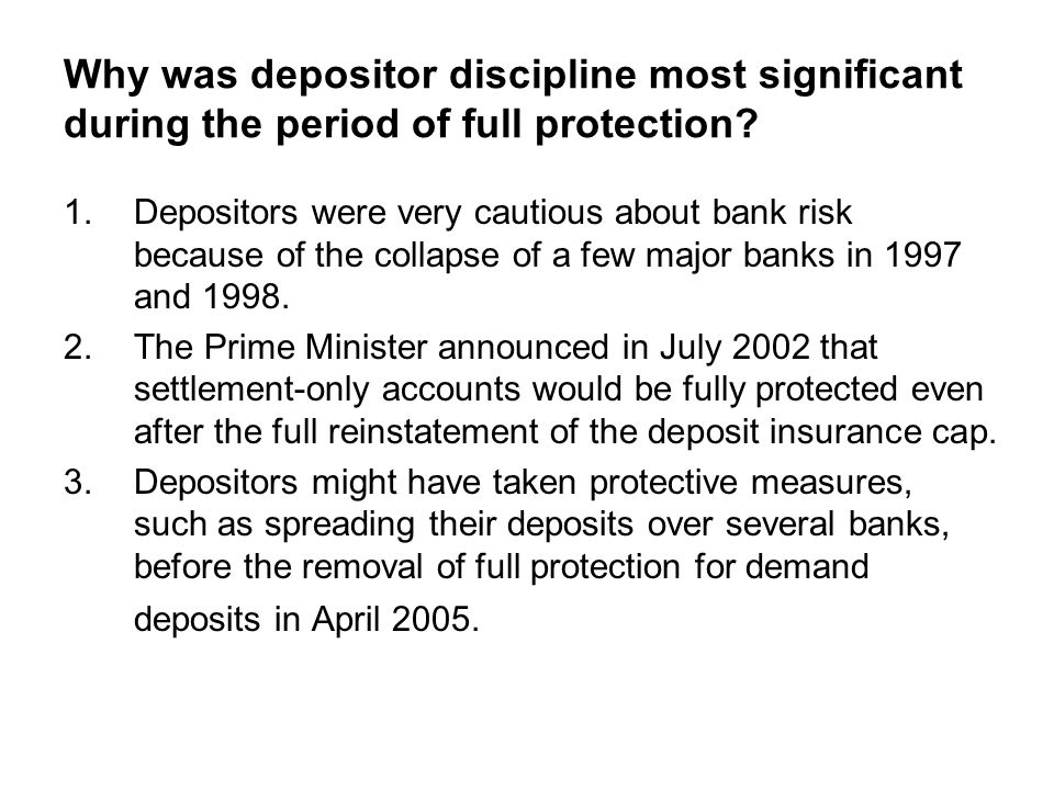Why was depositor discipline most significant during the period of full protection.
