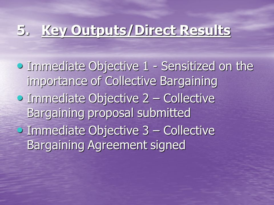 5. Key Outputs/Direct Results Immediate Objective 1 - Sensitized on the importance of Collective Bargaining Immediate Objective 1 - Sensitized on the