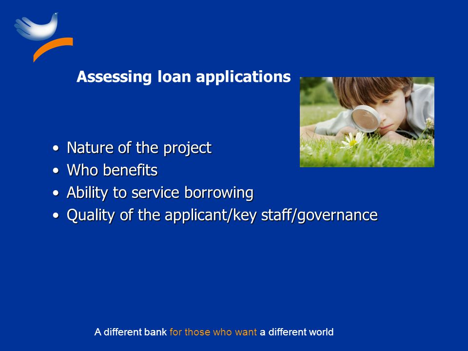 A different bank for those who want a different world Assessing loan applications Nature of the projectNature of the project Who benefitsWho benefits Ability to service borrowingAbility to service borrowing Quality of the applicant/key staff/governanceQuality of the applicant/key staff/governance