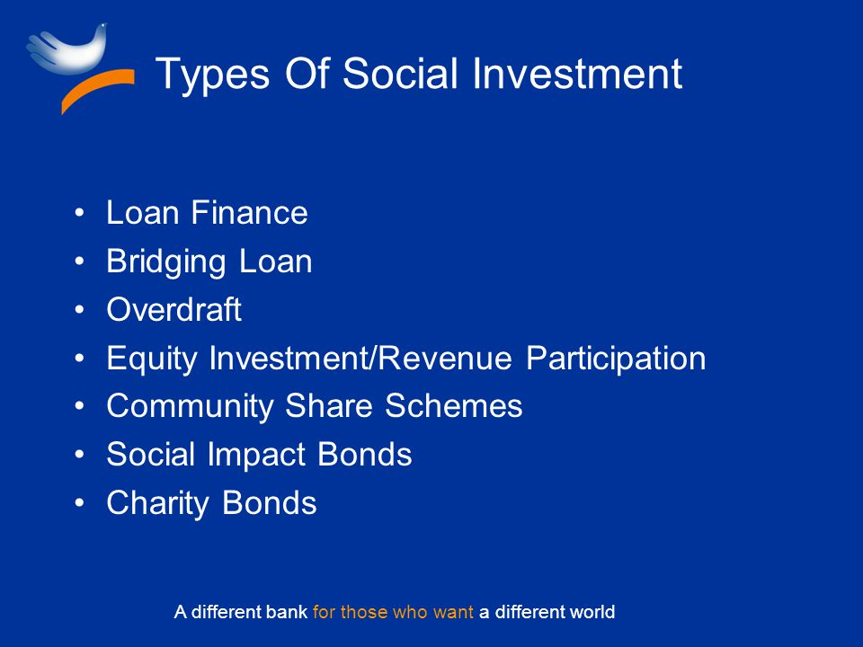 A different bank for those who want a different world Types Of Social Investment Loan Finance Bridging Loan Overdraft Equity Investment/Revenue Participation Community Share Schemes Social Impact Bonds Charity Bonds