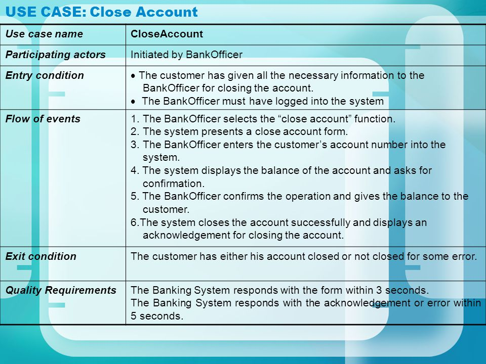 USE CASE: Close Account Use case nameCloseAccount Participating actorsInitiated by BankOfficer Entry condition The customer has given all the necessar