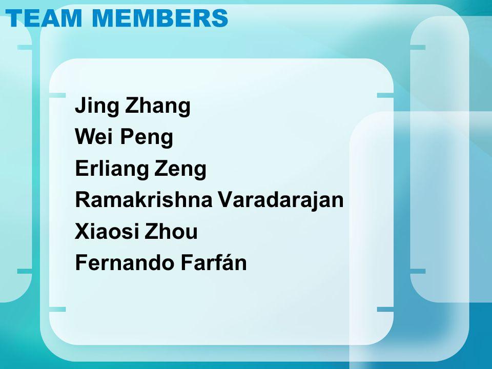 TEAM MEMBERS Jing Zhang Wei Peng Erliang Zeng Ramakrishna Varadarajan Xiaosi Zhou Fernando Farfán
