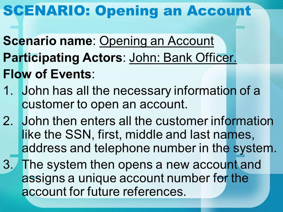 SCENARIO: Cash and Check Deposit Scenario name: Cash and Check Deposit Participating Actors: Lucy: BankOfficer.