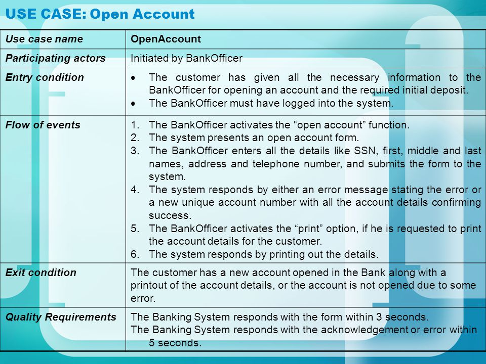 USE CASE: Deposit Use case nameDeposit Participating actorsInitiated by Bank Employee Entry condition The Bank Employee has logged into the system.