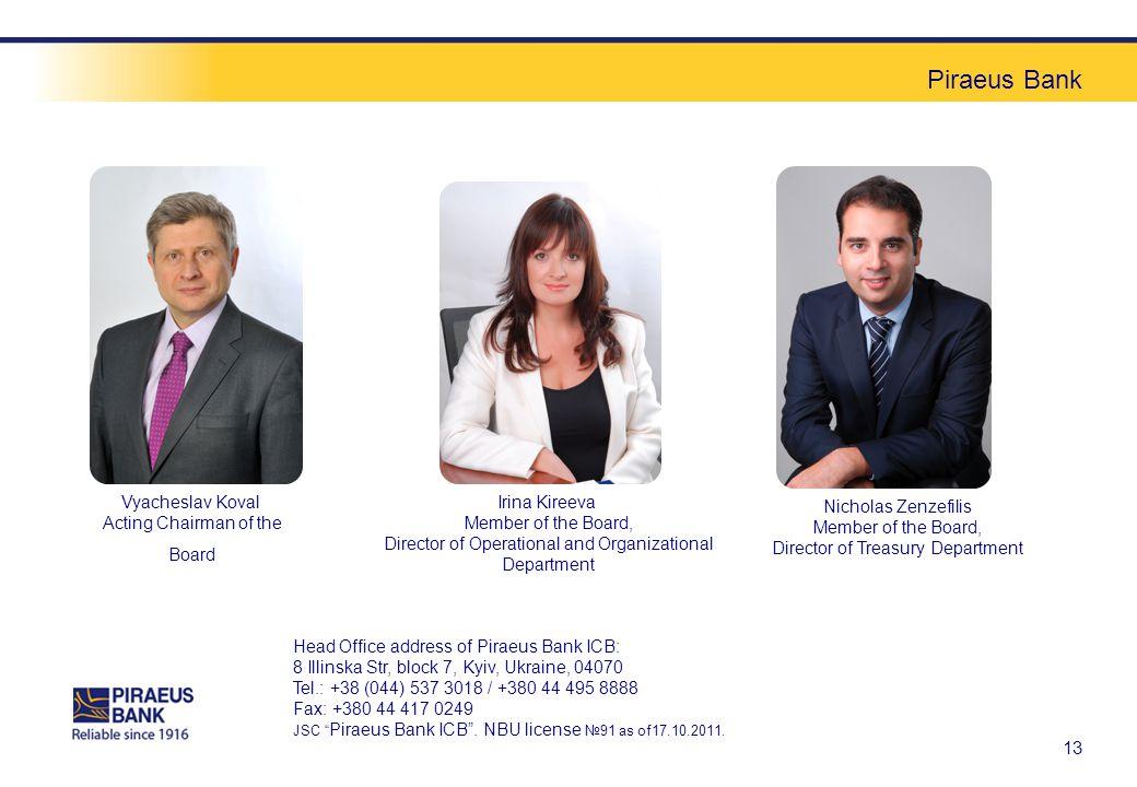 Piraeus Bank 13 Vyacheslav Koval Acting Chairman of the Board Irina Kireeva Member of the Board, Director of Operational and Organizational Department Nicholas Zenzefilis Member of the Board, Director of Treasury Department Head Office address of Piraeus Bank ICB: 8 Illinska Str, block 7, Kyiv, Ukraine, 04070 Tel.: +38 (044) 537 3018 / +380 44 495 8888 Fax: +380 44 417 0249 JSC Piraeus Bank ICB.