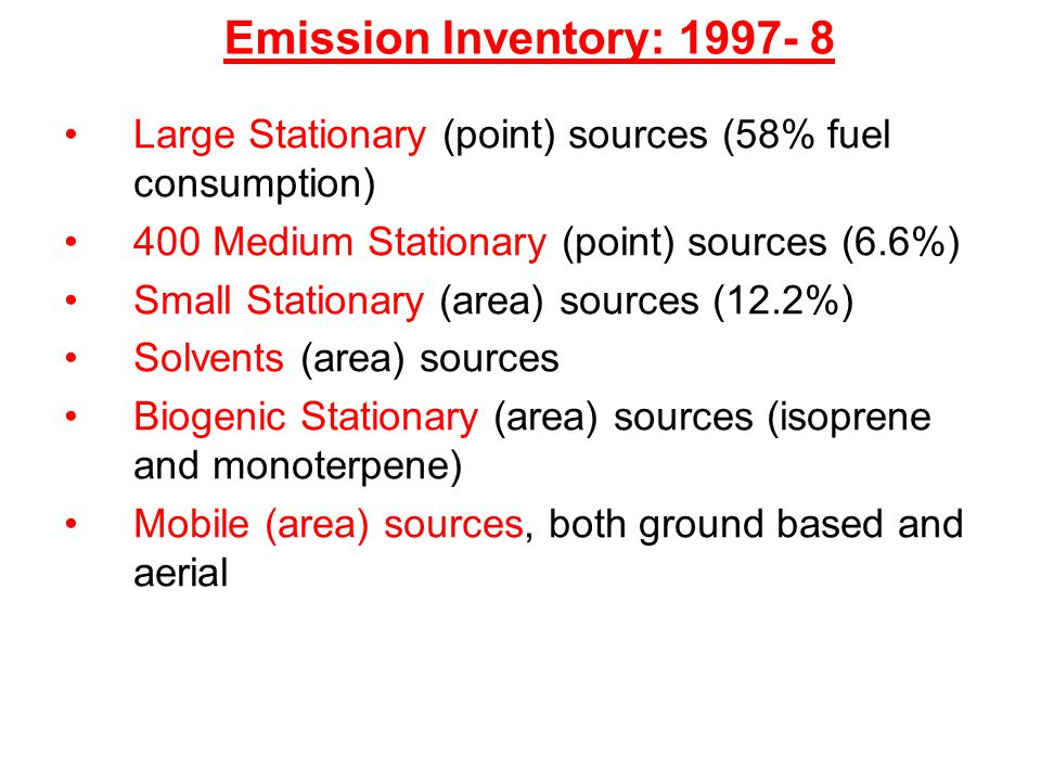 Emission Inventory: 1997- 8 Large Stationary (point) sources (58% fuel consumption) 400 Medium Stationary (point) sources (6.6%) Small Stationary (are