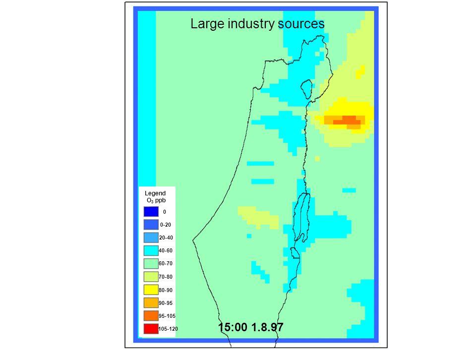 0 0-20 20-40 40-60 60-70 70-80 80-90 90-95 95-105 105-120 Legend O 3 ppb 1.8.97 15:00 Large industry sources