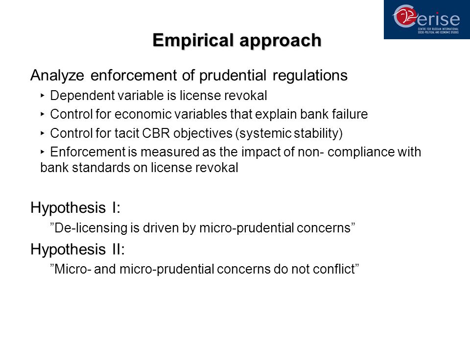 Empirical approach Analyze enforcement of prudential regulations Dependent variable is license revokal Control for economic variables that explain bank failure Control for tacit CBR objectives (systemic stability) Enforcement is measured as the impact of non- compliance with bank standards on license revokal Hypothesis I: De-licensing is driven by micro-prudential concerns Hypothesis II: Micro- and micro-prudential concerns do not conflict