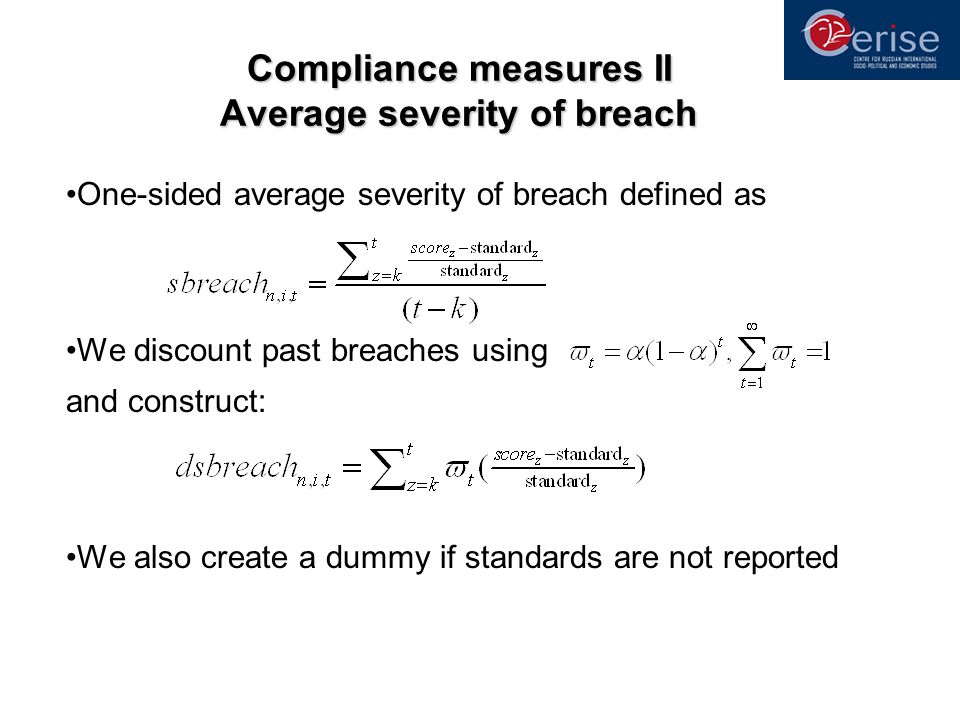 Compliance measures II Average severity of breach One-sided average severity of breach defined as We discount past breaches using and construct: We al