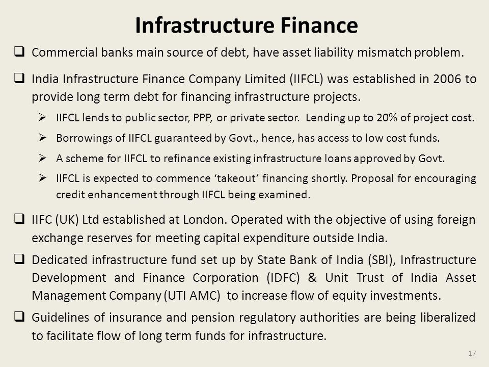 17 Infrastructure Finance Commercial banks main source of debt, have asset liability mismatch problem.