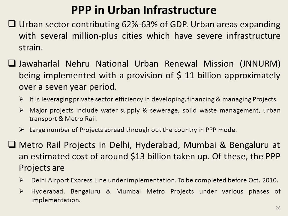 PPP in Urban Infrastructure Urban sector contributing 62%-63% of GDP.