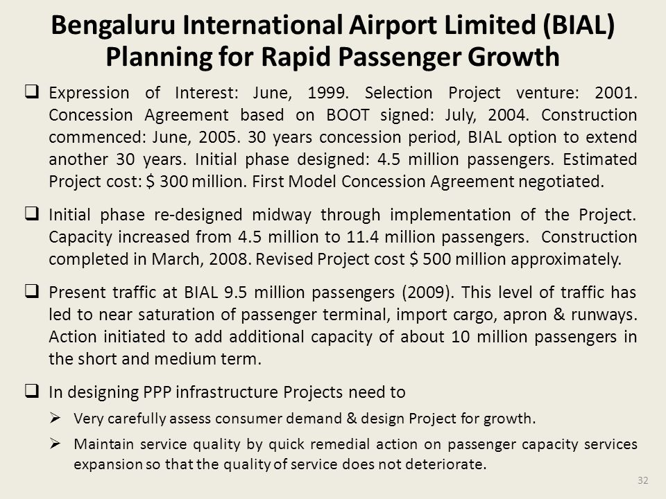 Bengaluru International Airport Limited (BIAL) Planning for Rapid Passenger Growth Expression of Interest: June, 1999.