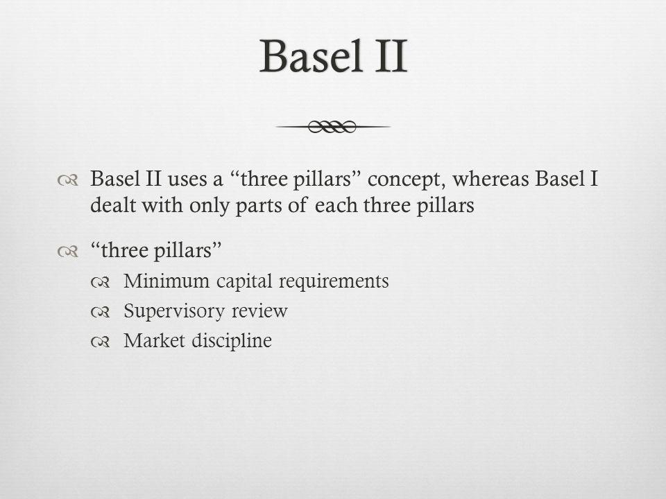 Basel IIBasel II Basel II uses a three pillars concept, whereas Basel I dealt with only parts of each three pillars three pillars Minimum capital requirements Supervisory review Market discipline