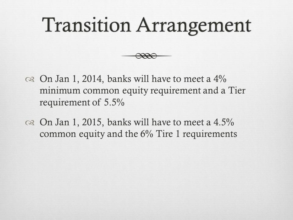 Transition ArrangementTransition Arrangement On Jan 1, 2014, banks will have to meet a 4% minimum common equity requirement and a Tier requirement of 5.5% On Jan 1, 2015, banks will have to meet a 4.5% common equity and the 6% Tire 1 requirements
