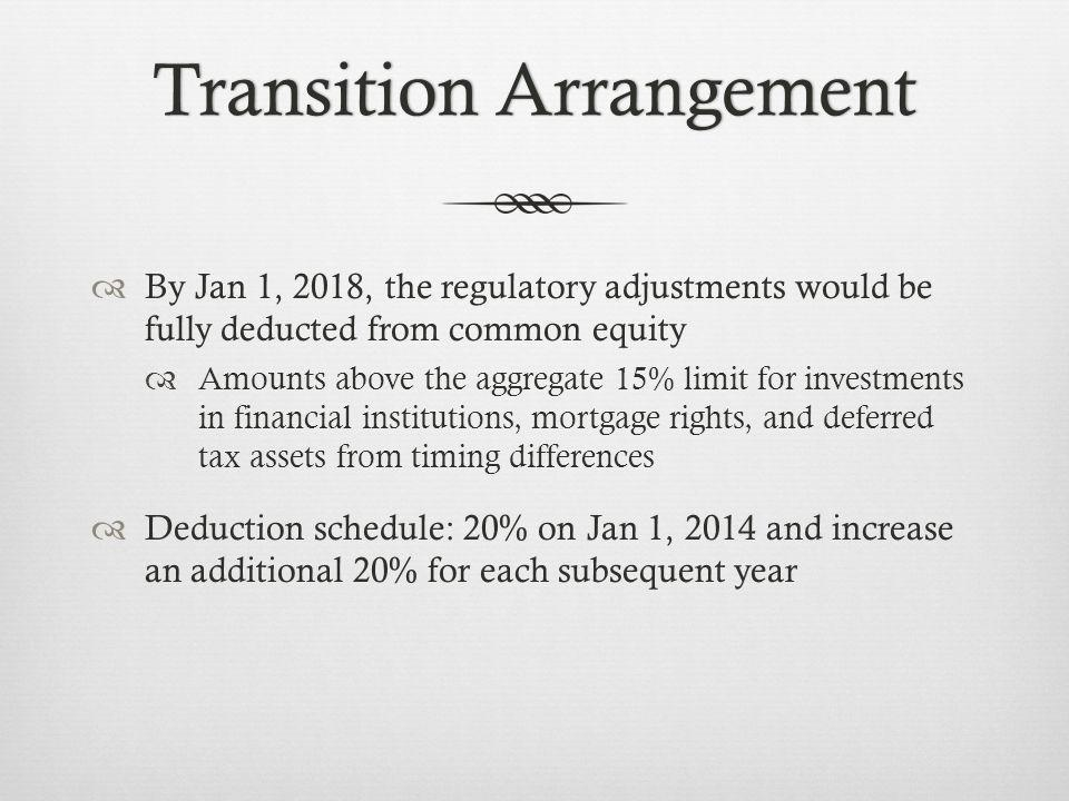 Transition ArrangementTransition Arrangement By Jan 1, 2018, the regulatory adjustments would be fully deducted from common equity Amounts above the aggregate 15% limit for investments in financial institutions, mortgage rights, and deferred tax assets from timing differences Deduction schedule: 20% on Jan 1, 2014 and increase an additional 20% for each subsequent year