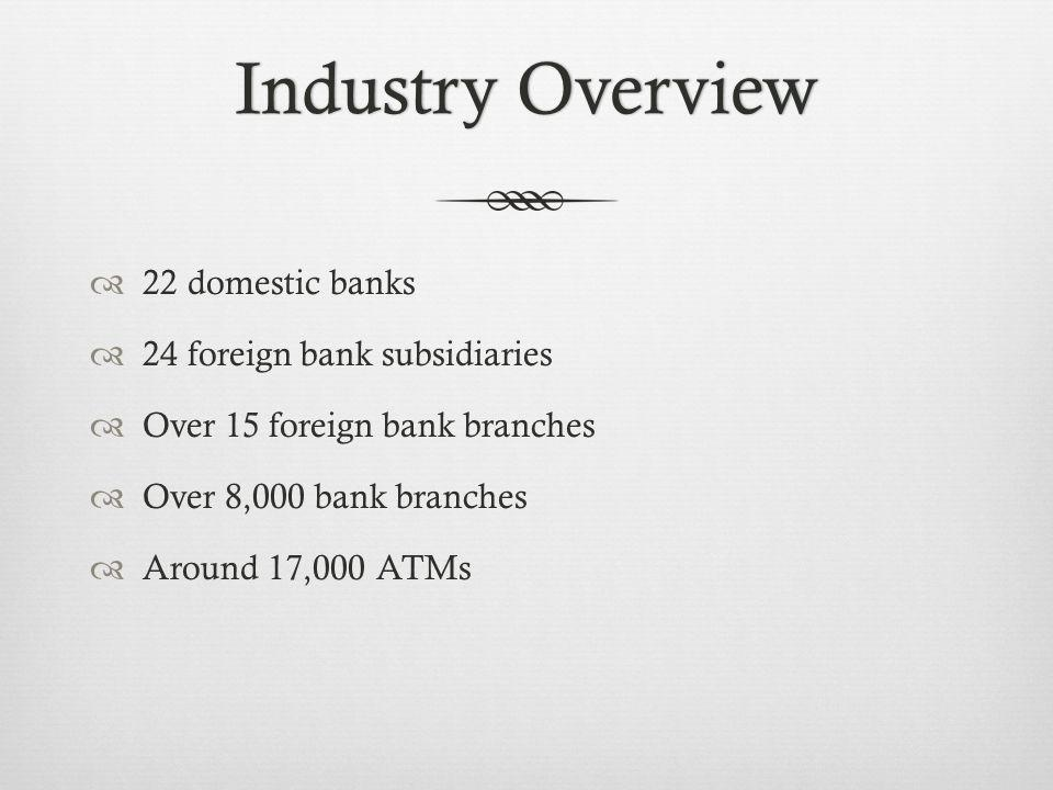 Industry OverviewIndustry Overview 22 domestic banks 24 foreign bank subsidiaries Over 15 foreign bank branches Over 8,000 bank branches Around 17,000 ATMs