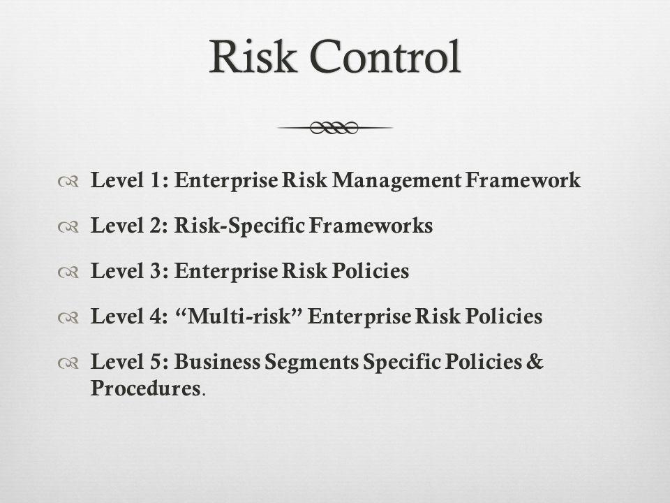 Risk ControlRisk Control Level 1: Enterprise Risk Management Framework Level 2: Risk-Specific Frameworks Level 3: Enterprise Risk Policies Level 4: Multi-risk Enterprise Risk Policies Level 5: Business Segments Specific Policies & Procedures.