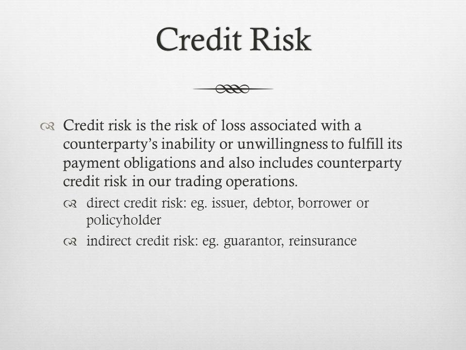Credit RiskCredit Risk Credit risk is the risk of loss associated with a counterpartys inability or unwillingness to fulfill its payment obligations and also includes counterparty credit risk in our trading operations.