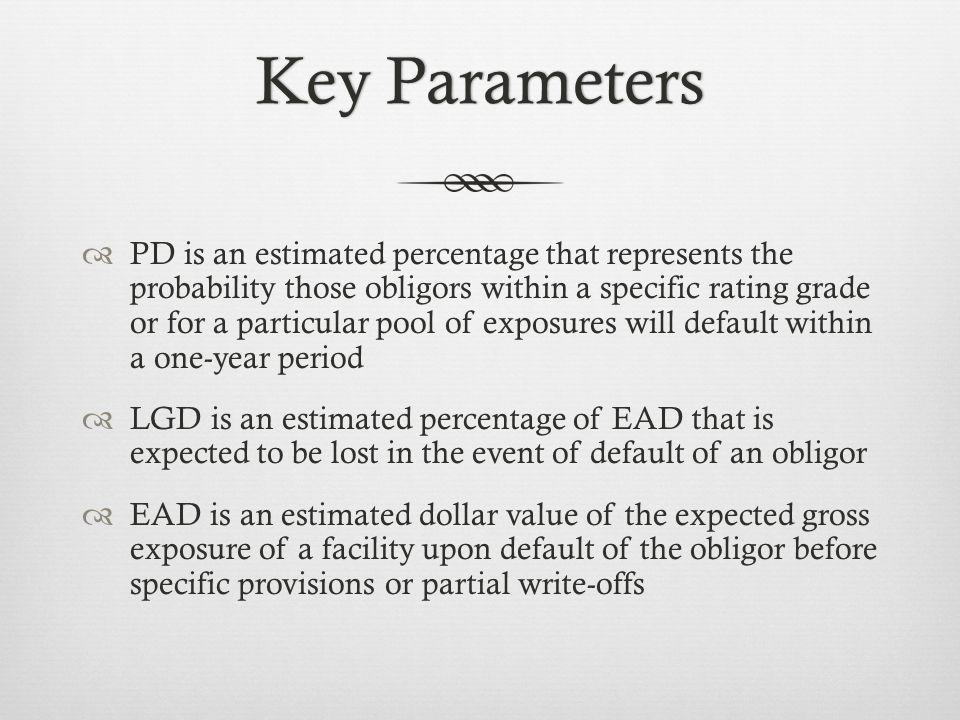 Key ParametersKey Parameters PD is an estimated percentage that represents the probability those obligors within a specific rating grade or for a particular pool of exposures will default within a one-year period LGD is an estimated percentage of EAD that is expected to be lost in the event of default of an obligor EAD is an estimated dollar value of the expected gross exposure of a facility upon default of the obligor before specific provisions or partial write-offs