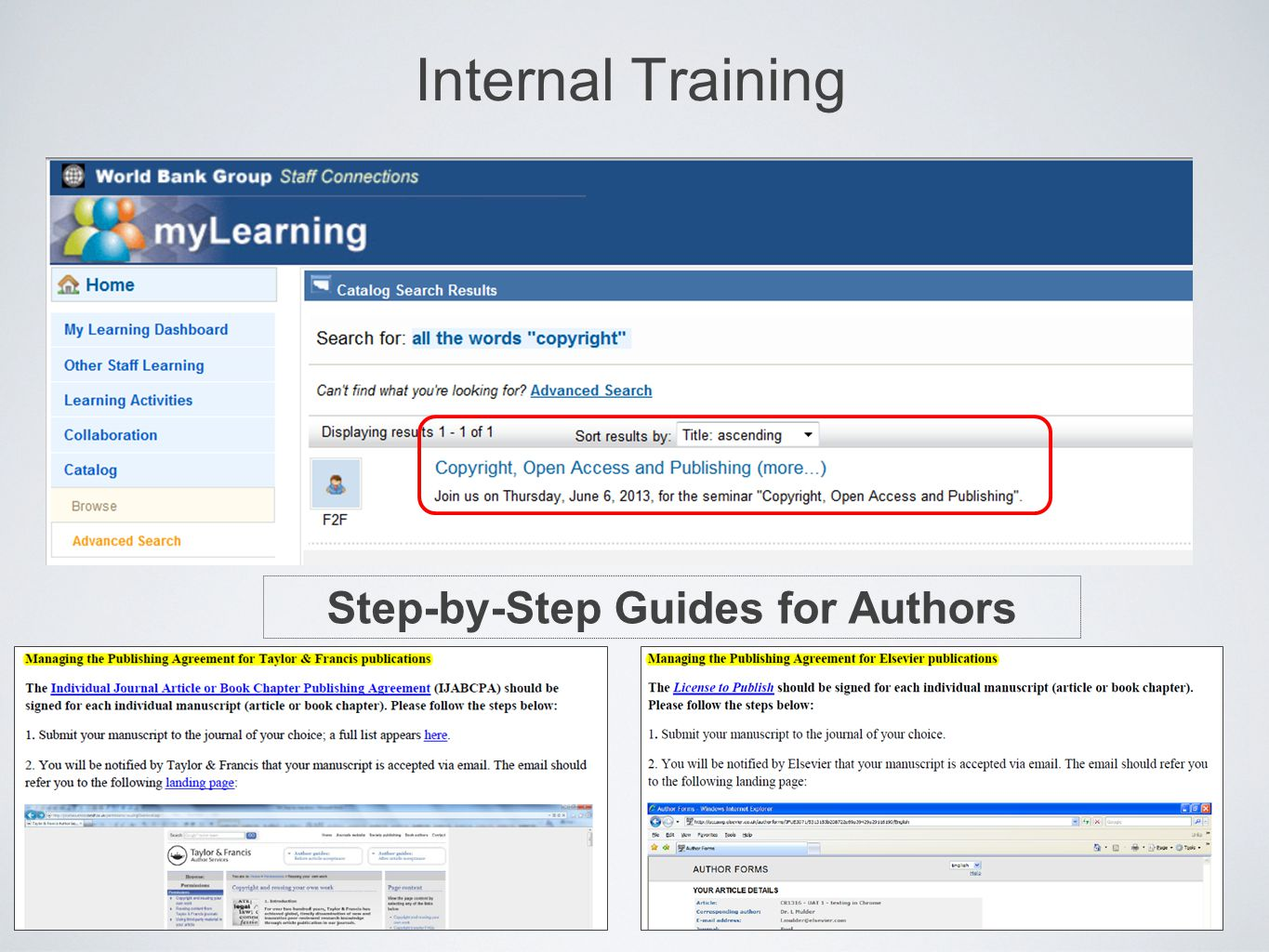 Internal Training Step-by-Step Guides for Authors