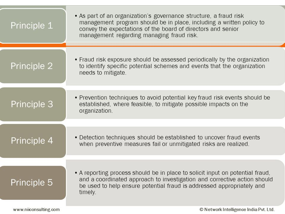 As part of an organizations governance structure, a fraud risk management program should be in place, including a written policy to convey the expecta