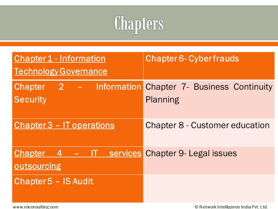 Chapter 1 - Information Technology Governance Chapter 6- Cyber frauds Chapter 2 – Information Security Chapter 7- Business Continuity Planning Chapter