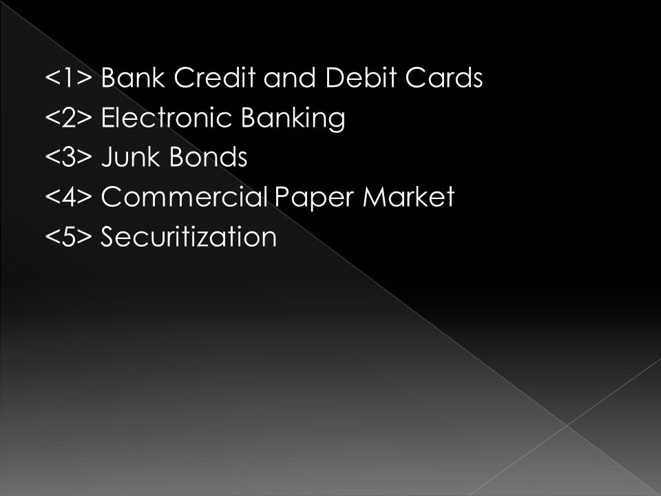 Bank Credit and Debit Cards Electronic Banking Junk Bonds Commercial Paper Market Securitization