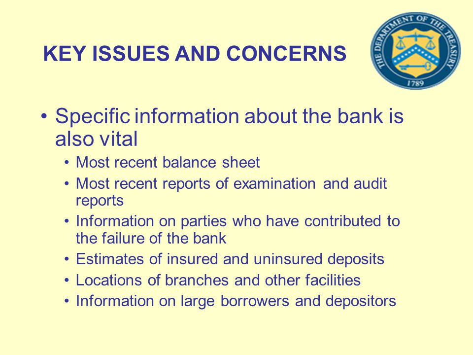 KEY ISSUES AND CONCERNS Specific information about the bank is also vital Most recent balance sheet Most recent reports of examination and audit repor