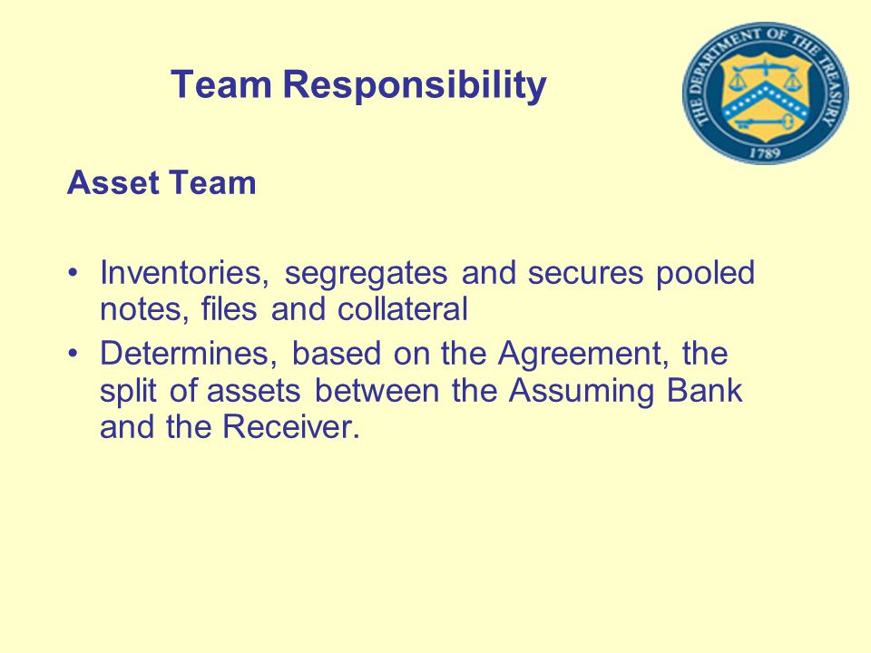 Team Responsibility Asset Team Inventories, segregates and secures pooled notes, files and collateral Determines, based on the Agreement, the split of