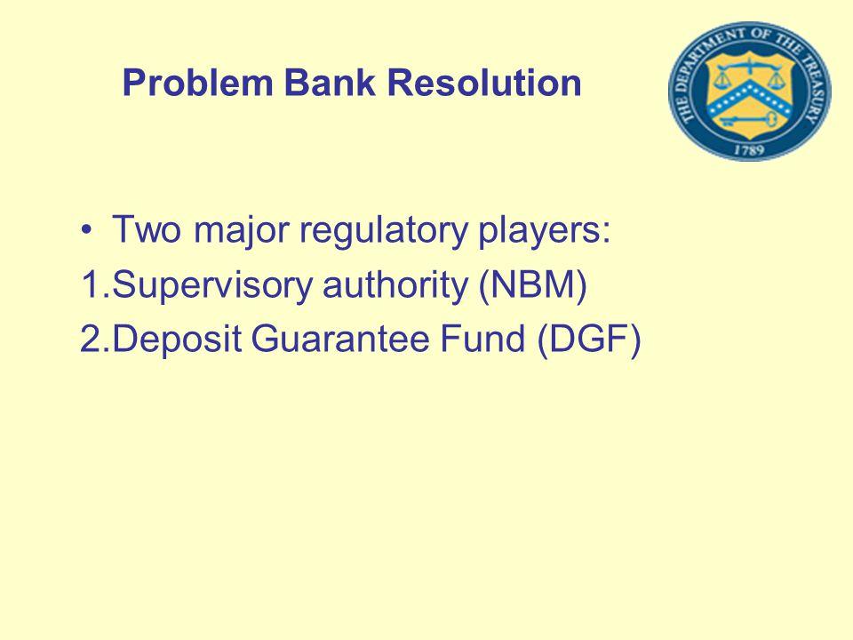 Problem Bank Resolution Two major regulatory players: 1.Supervisory authority (NBM) 2.Deposit Guarantee Fund (DGF)