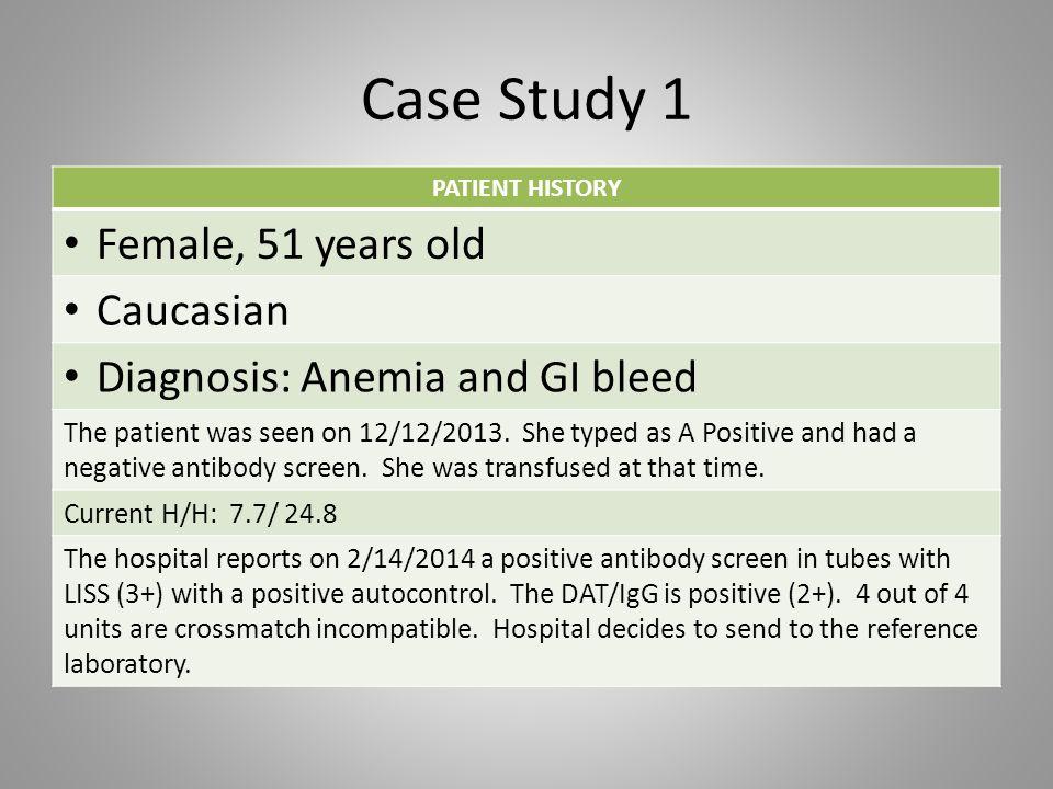 Case Study 1 Reference Lab testing: – ABO/Rh performed: – DAT Performed: Anti-AAnti-BAnti-DA1 CellB CellABO/Rh 4+0 0 A Positive Anti-IgG/ GelAnti-C3/ Gel 3+0