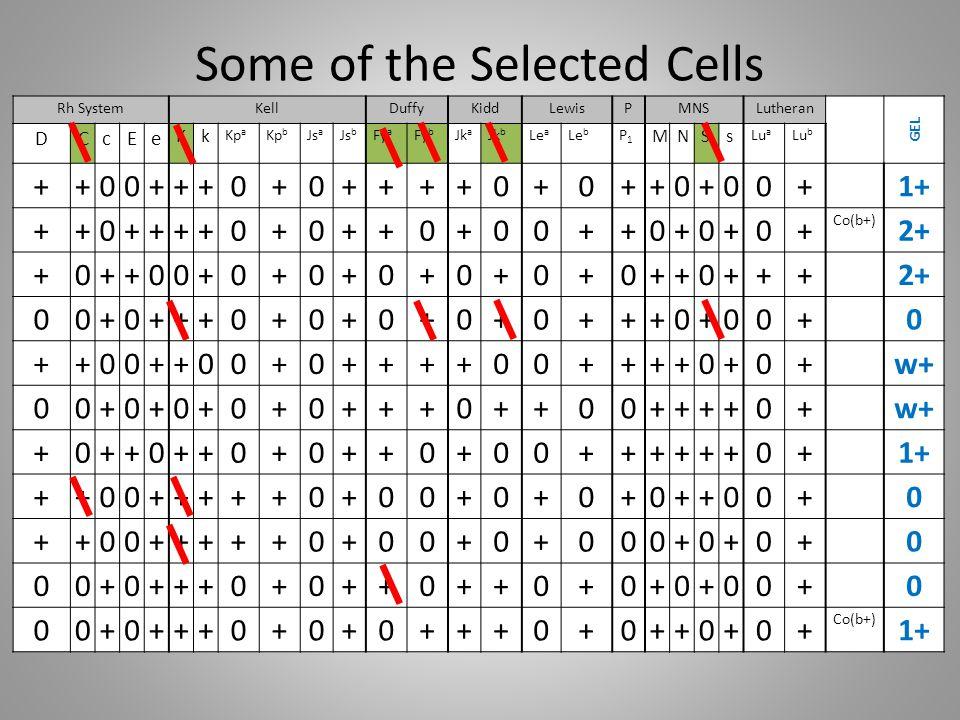 Some of the Selected Cells Rh SystemKellDuffyKiddLewisPMNSLutheran GEL DCcEe Kk Kp a Kp b Js a Js b Fy a Fy b Jk a Jk b Le a Le b P1P1 MNSs Lu a Lu b