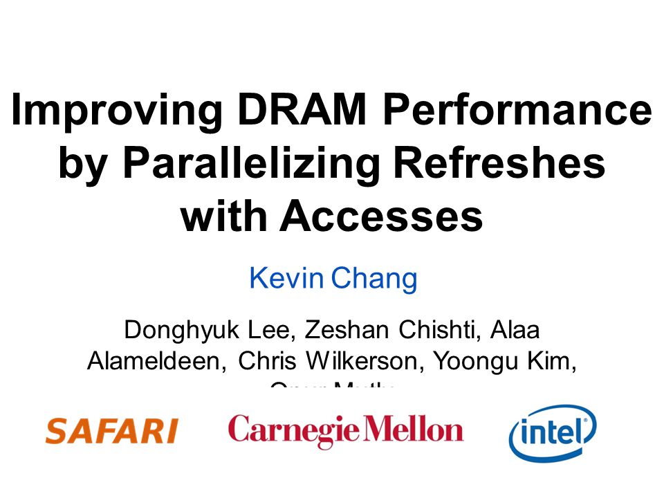 Increasing Performance Impact DRAM is unavailable to serve requests for of time 6.7% for todays 4Gb DRAM Unavailability increases with higher density due to higher tRefLatency –23% / 41% for future 32Gb / 64Gb DRAM 12 tRefLatency tRefPeriod