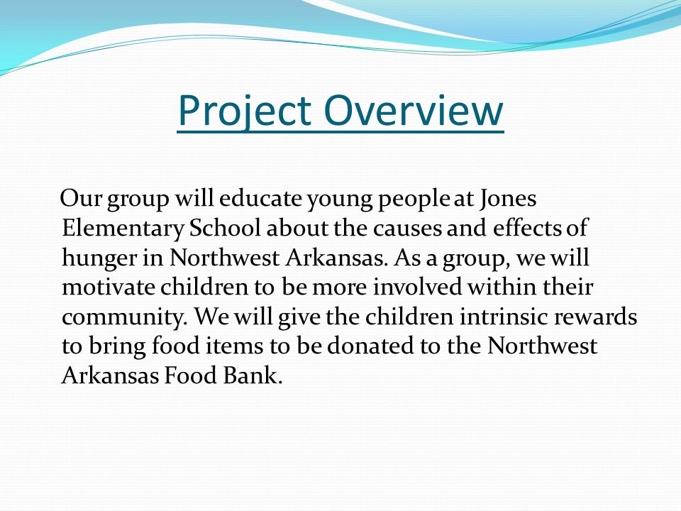 Project Overview Our group will educate young people at Jones Elementary School about the causes and effects of hunger in Northwest Arkansas. As a gro