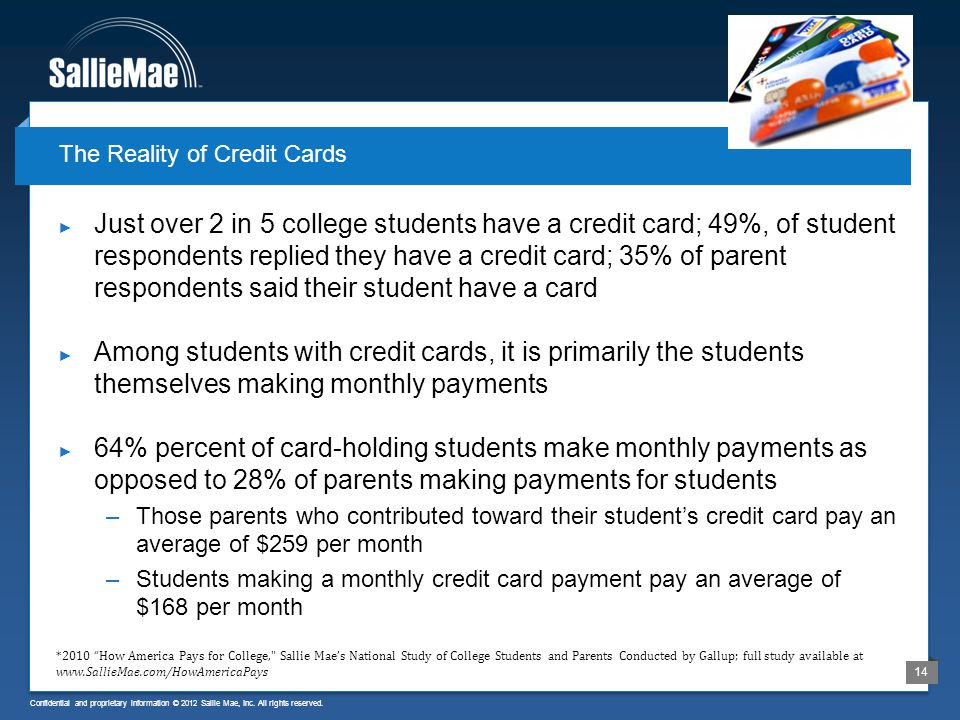 Confidential and proprietary information © 2012 Sallie Mae, Inc. All rights reserved. 14 Just over 2 in 5 college students have a credit card; 49%, of
