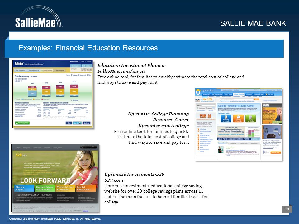Confidential and proprietary information © 2012 Sallie Mae, Inc. All rights reserved. 18 Examples: Financial Education Resources SALLIE MAE BANK Educa